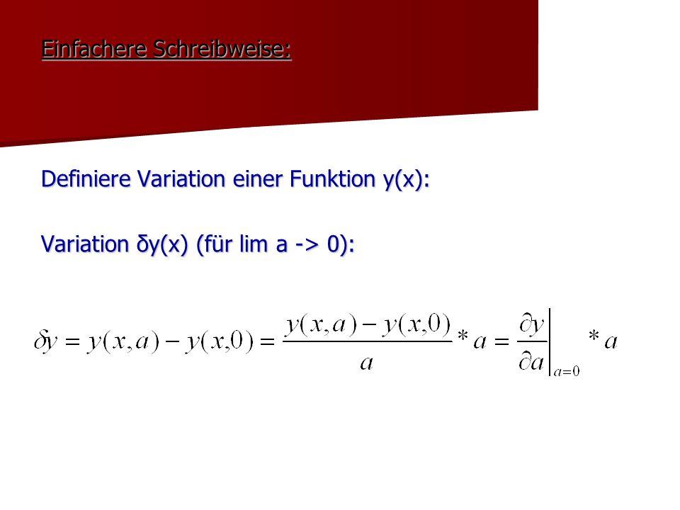Einfachere Schreibweise: Definiere Variation einer Funktion y(x): Variation δy(x) (für lim a -> 0):