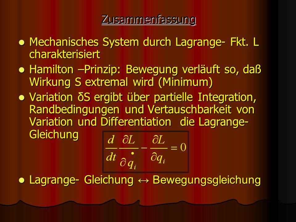 Zusammenfassung Mechanisches System durch Lagrange- Fkt. L charakterisiert Mechanisches System durch Lagrange- Fkt. L charakterisiert Hamilton –Prinzi