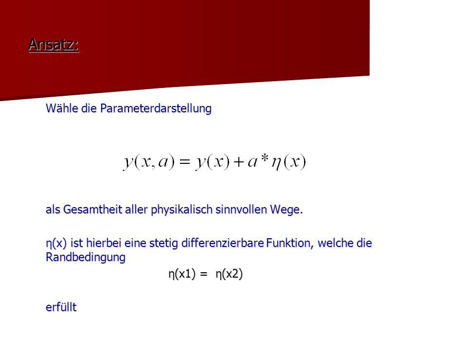 Ansatz: Wähle die Parameterdarstellung als Gesamtheit aller physikalisch sinnvollen Wege. η(x) ist hierbei eine stetig differenzierbare Funktion, welc