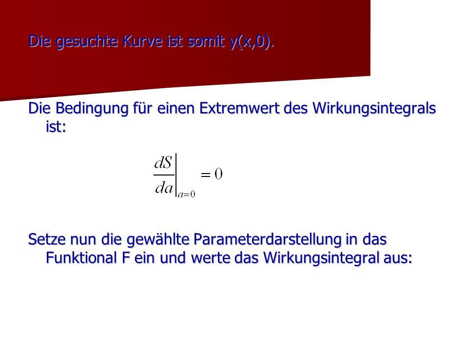 Die gesuchte Kurve ist somit y(x,0). Die Bedingung für einen Extremwert des Wirkungsintegrals ist: Setze nun die gewählte Parameterdarstellung in das