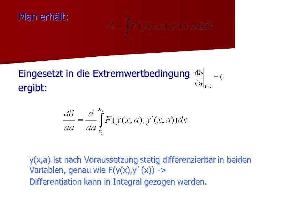Man erhält: Eingesetzt in die Extremwertbedingung ergibt: y(x,a) ist nach Voraussetzung stetig differenzierbar in beiden Variablen, genau wie F(y(x),y