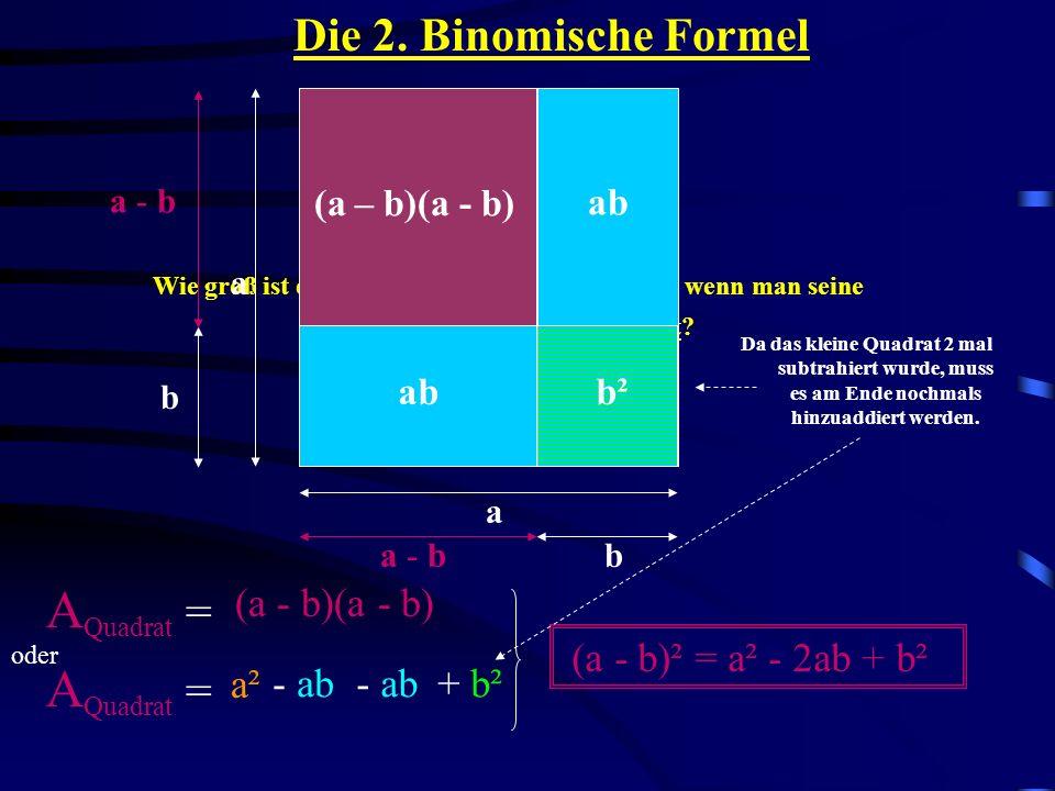 Beispiele: 1. (m + 6)² = m² + 2 · 6 · m + 6² = Probe: für m = 3 eingesetzt (3 + 6)² = 9² = 81 3² + 2 · 6 · 3 + 6² = 9 + 36 + 36 = 81 m² + 12m + 36 (a