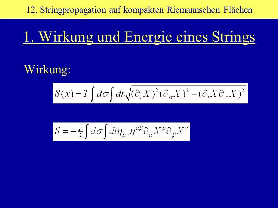 1. Wirkung und Energie eines Strings Wirkung: 12. Stringpropagation auf kompakten Riemannschen Flächen