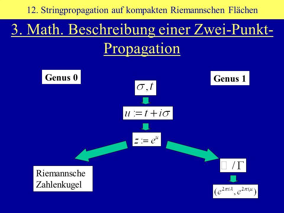 3. Math. Beschreibung einer Zwei-Punkt- Propagation 12. Stringpropagation auf kompakten Riemannschen Flächen Riemannsche Zahlenkugel Genus 0 Genus 1