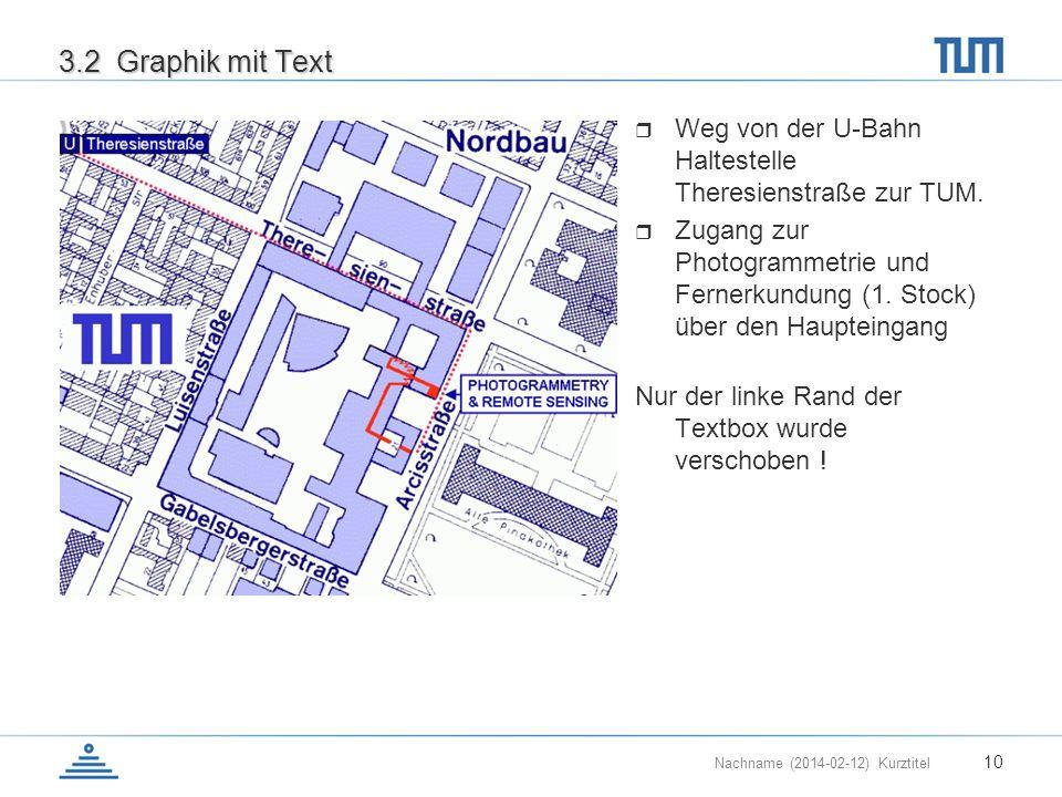 Nachname (2014-02-12) Kurztitel 10 3.2 Graphik mit Text Weg von der U-Bahn Haltestelle Theresienstraße zur TUM. Zugang zur Photogrammetrie und Fernerk