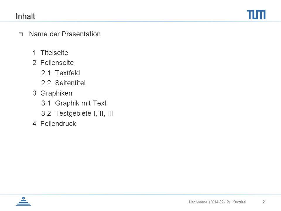 Nachname (2014-02-12) Kurztitel 2 Inhalt Name der Präsentation 1 Titelseite 2 Folienseite 2.1 Textfeld 2.2 Seitentitel 3 Graphiken 3.1 Graphik mit Tex