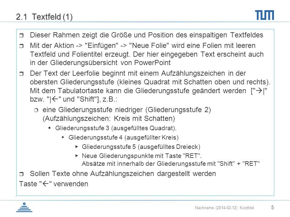 Nachname (2014-02-12) Kurztitel 5 2.1 Textfeld (1) Dieser Rahmen zeigt die Größe und Position des einspaltigen Textfeldes Mit der Aktion ->
