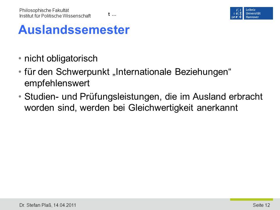 Seite 12 Name der Einrichtung/Institut … Auslandssemester nicht obligatorisch für den Schwerpunkt Internationale Beziehungen empfehlenswert Studien- u