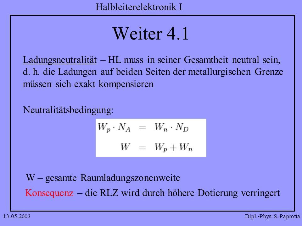 Dipl.-Phys. S. Paprotta Halbleiterelektronik I 13.05.2003 Weiter 4.1 Ladungsneutralität – HL muss in seiner Gesamtheit neutral sein, d. h. die Ladunge