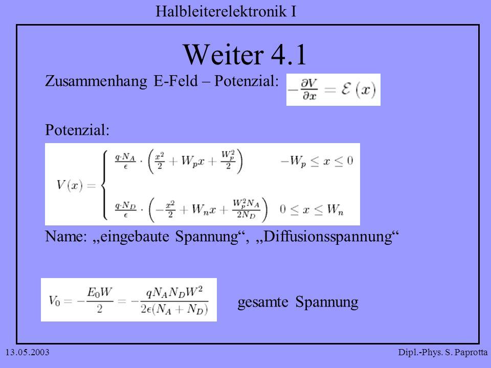Dipl.-Phys. S. Paprotta Halbleiterelektronik I 13.05.2003 Weiter 4.1 Zusammenhang E-Feld – Potenzial: Potenzial: Name: eingebaute Spannung, Diffusions