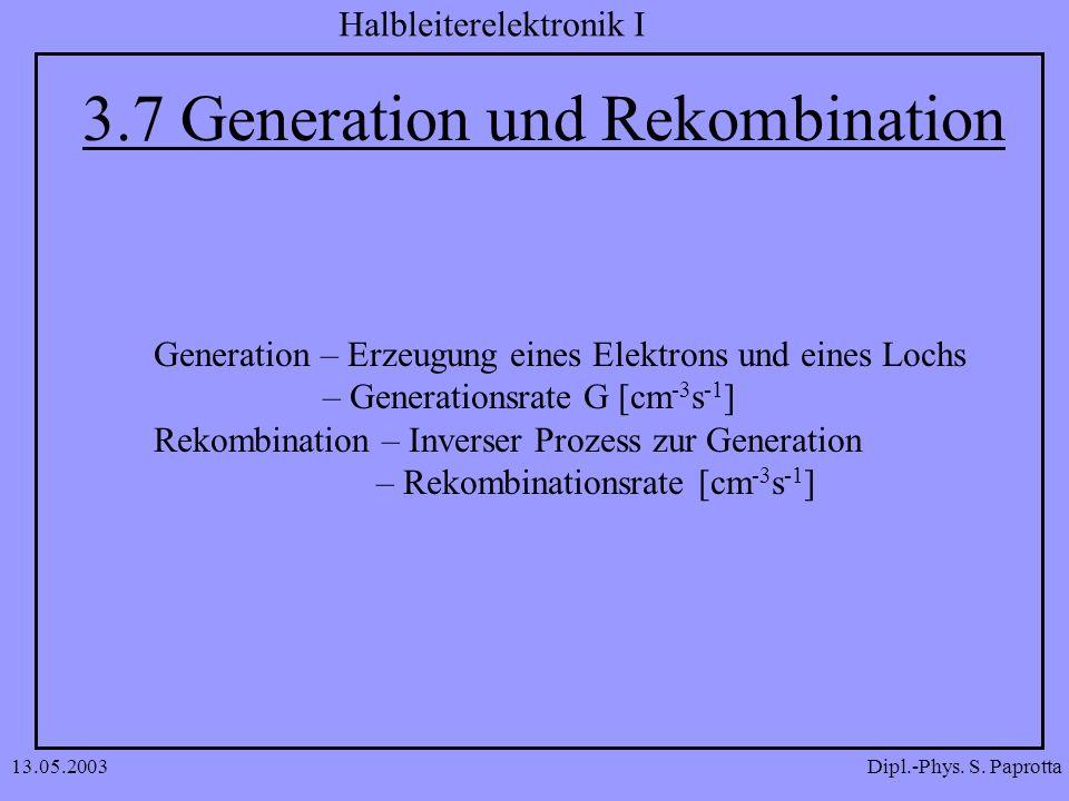 Dipl.-Phys. S. Paprotta Halbleiterelektronik I 13.05.2003 3.7 Generation und Rekombination Generation – Erzeugung eines Elektrons und eines Lochs – Ge