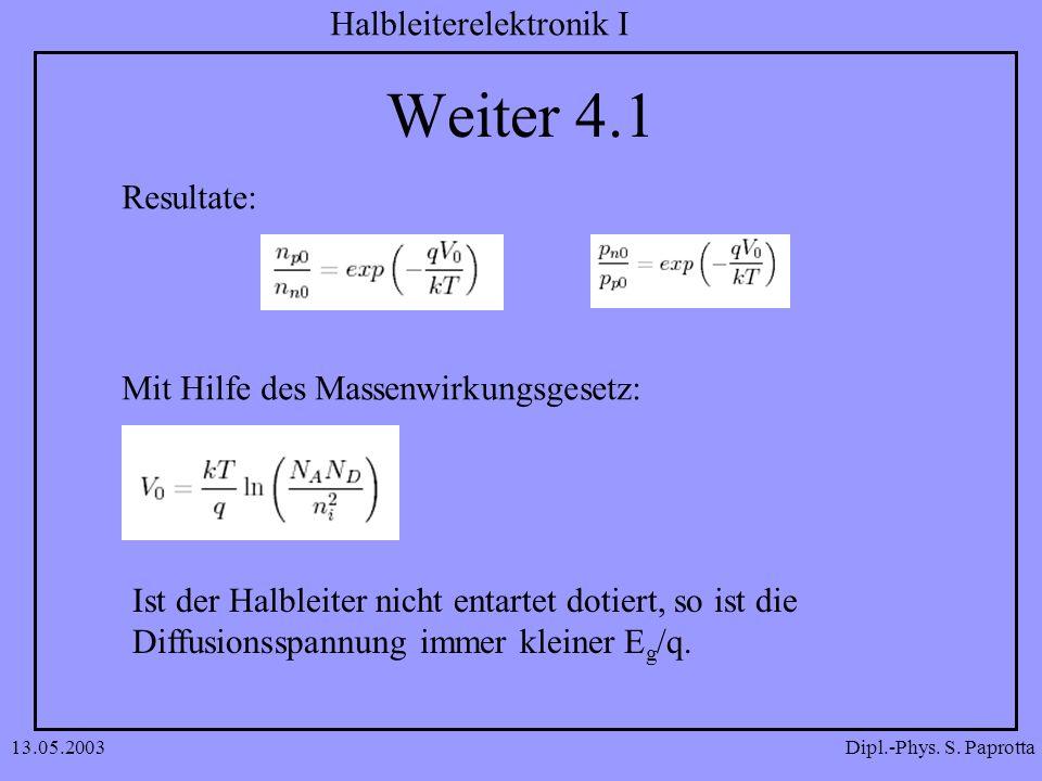 Dipl.-Phys. S. Paprotta Halbleiterelektronik I 13.05.2003 Weiter 4.1 Resultate: Mit Hilfe des Massenwirkungsgesetz: Ist der Halbleiter nicht entartet