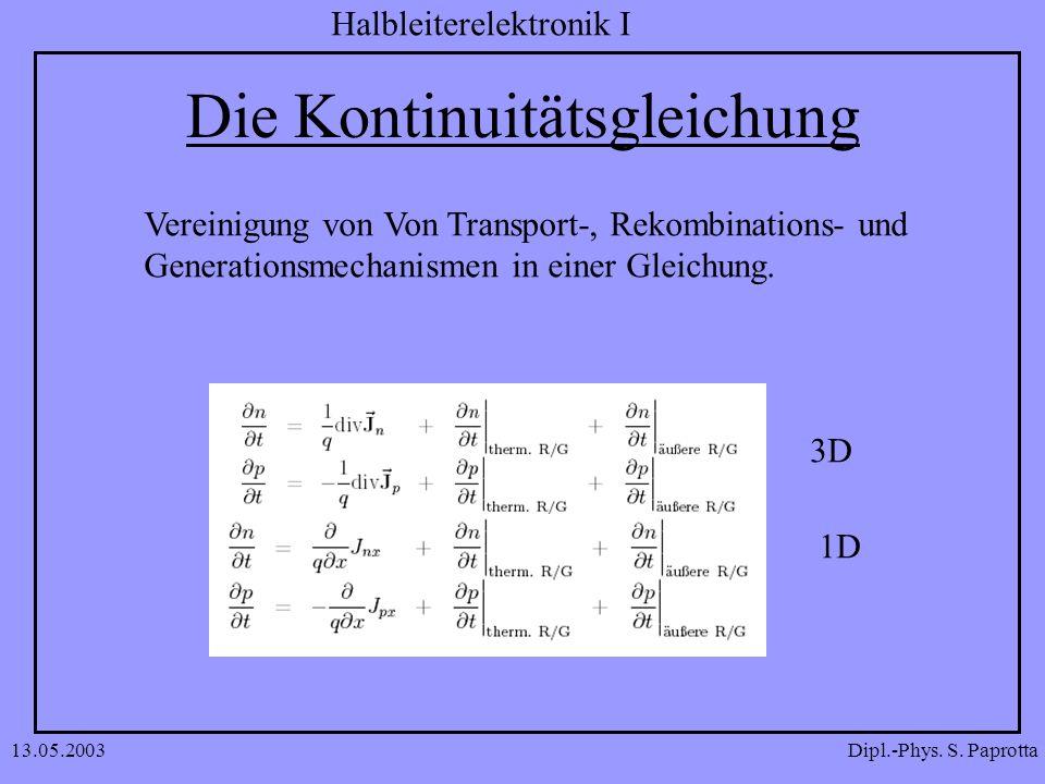 Dipl.-Phys. S. Paprotta Halbleiterelektronik I 13.05.2003 Die Kontinuitätsgleichung Vereinigung von Von Transport-, Rekombinations- und Generationsmec