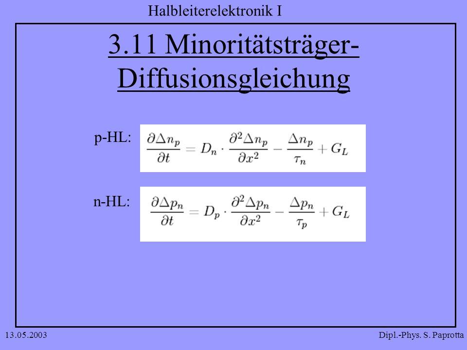Dipl.-Phys. S. Paprotta Halbleiterelektronik I 13.05.2003 3.11 Minoritätsträger- Diffusionsgleichung p-HL: n-HL: