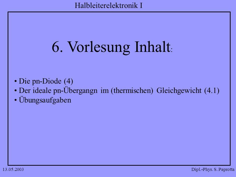 Dipl.-Phys. S. Paprotta Halbleiterelektronik I 13.05.2003 6. Vorlesung Inhalt : Die pn-Diode (4) Der ideale pn-Übergangn im (thermischen) Gleichgewich