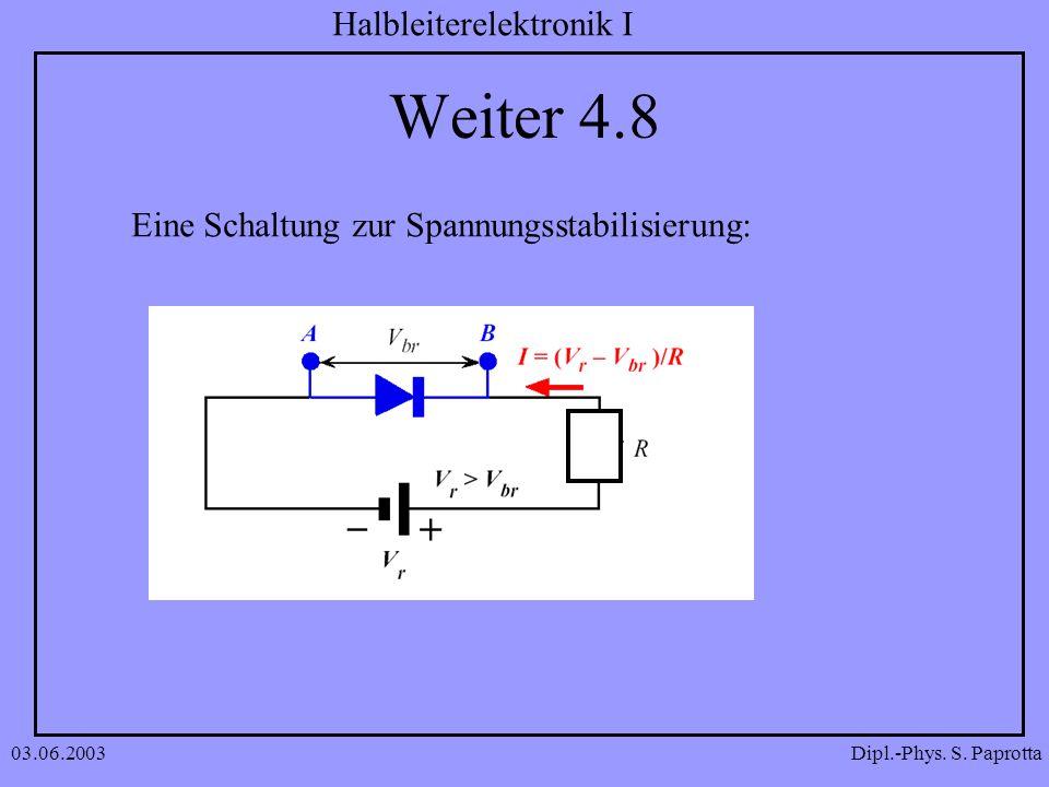 Dipl.-Phys. S. Paprotta Halbleiterelektronik I 03.06.2003 Weiter 4.8 Eine Schaltung zur Spannungsstabilisierung: