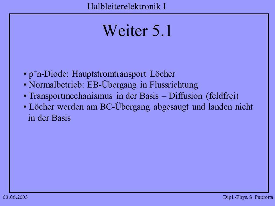 Dipl.-Phys. S. Paprotta Halbleiterelektronik I 03.06.2003 Weiter 5.1 p + n-Diode: Hauptstromtransport Löcher Normalbetrieb: EB-Übergang in Flussrichtu