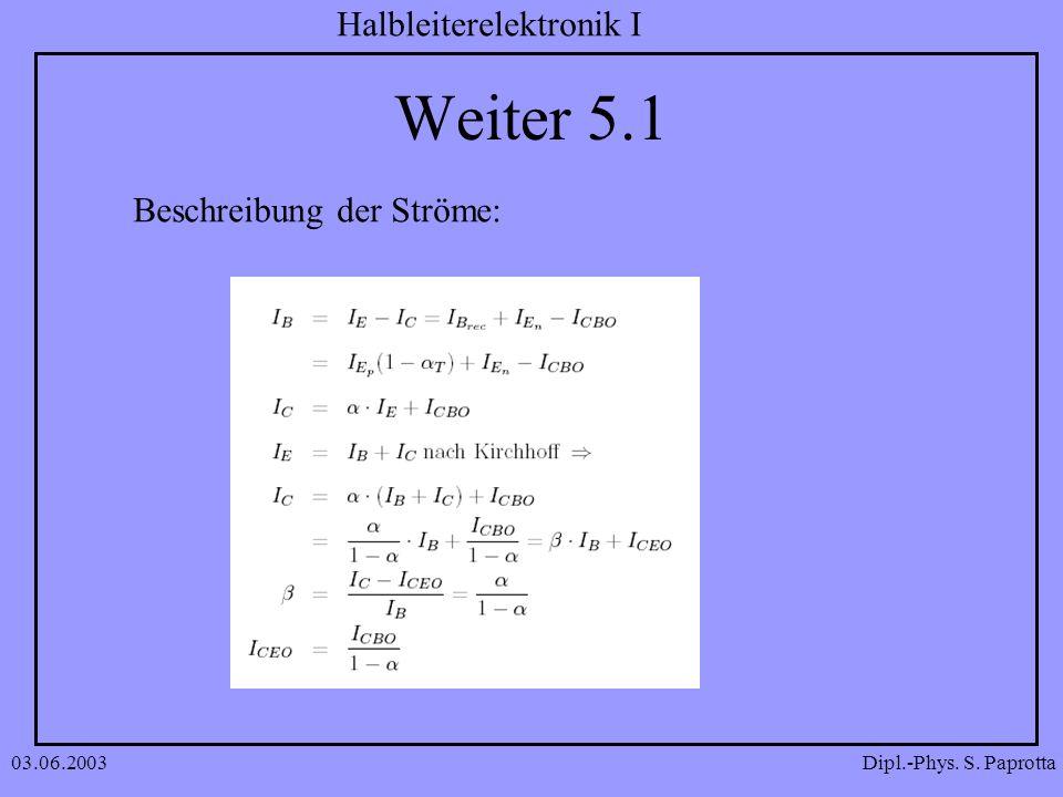 Dipl.-Phys. S. Paprotta Halbleiterelektronik I 03.06.2003 Weiter 5.1 Beschreibung der Ströme: