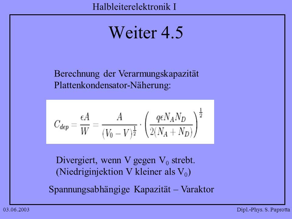 Dipl.-Phys. S. Paprotta Halbleiterelektronik I 03.06.2003 Weiter 4.5 Berechnung der Verarmungskapazität Plattenkondensator-Näherung: Divergiert, wenn