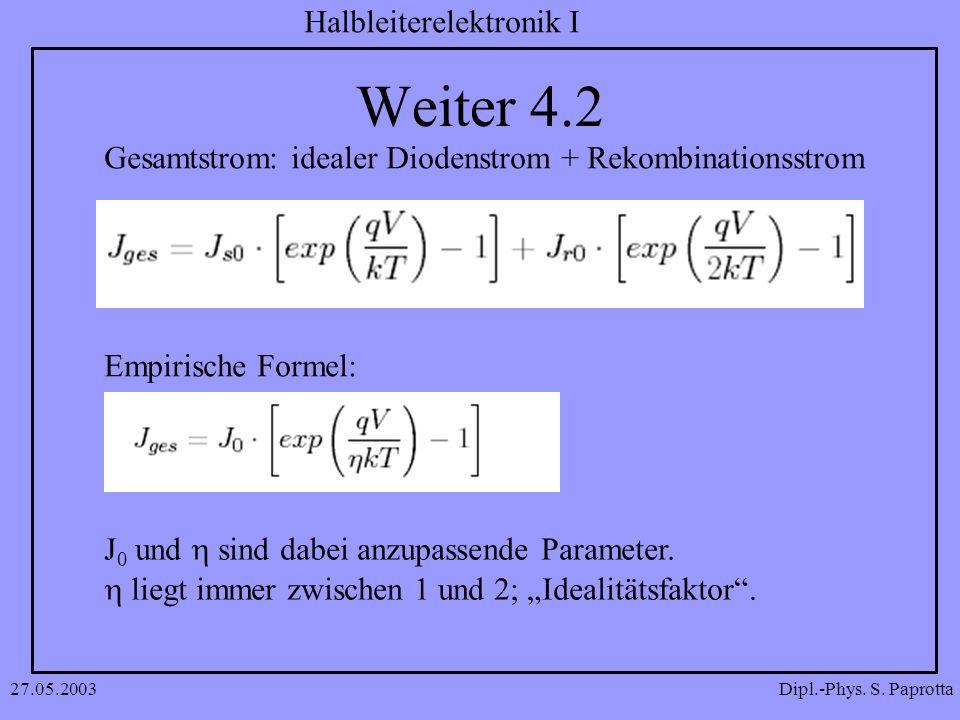 Dipl.-Phys. S. Paprotta Halbleiterelektronik I 27.05.2003 Weiter 4.2 Gesamtstrom: idealer Diodenstrom + Rekombinationsstrom Empirische Formel: J 0 und