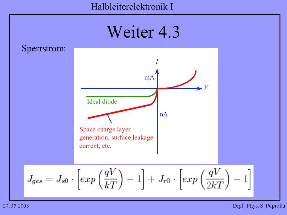 Dipl.-Phys. S. Paprotta Halbleiterelektronik I 27.05.2003 Weiter 4.3 Sperrstrom: