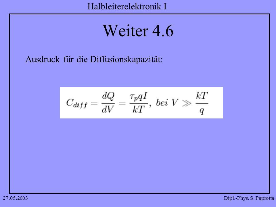 Dipl.-Phys. S. Paprotta Halbleiterelektronik I 27.05.2003 Weiter 4.6 Ausdruck für die Diffusionskapazität: