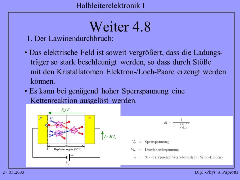 Dipl.-Phys. S. Paprotta Halbleiterelektronik I 27.05.2003 Weiter 4.8 1. Der Lawinendurchbruch: Das elektrische Feld ist soweit vergrößert, dass die La
