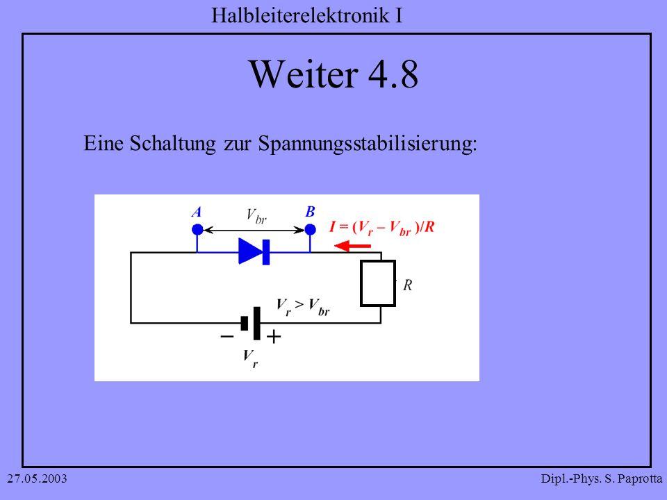 Dipl.-Phys. S. Paprotta Halbleiterelektronik I 27.05.2003 Weiter 4.8 Eine Schaltung zur Spannungsstabilisierung: