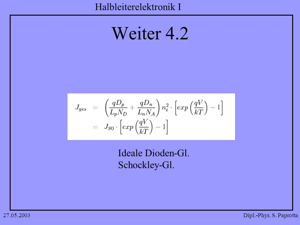 Dipl.-Phys. S. Paprotta Halbleiterelektronik I 27.05.2003 Weiter 4.2 Ideale Dioden-Gl. Schockley-Gl.