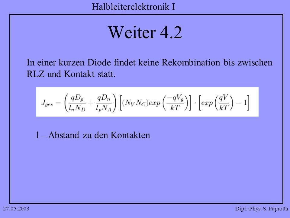 Dipl.-Phys. S. Paprotta Halbleiterelektronik I 27.05.2003 Weiter 4.2 In einer kurzen Diode findet keine Rekombination bis zwischen RLZ und Kontakt sta
