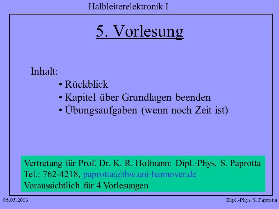Dipl.-Phys. S. Paprotta Halbleiterelektronik I 06.05.2003 5. Vorlesung Inhalt: Rückblick Kapitel über Grundlagen beenden Übungsaufgaben (wenn noch Zei