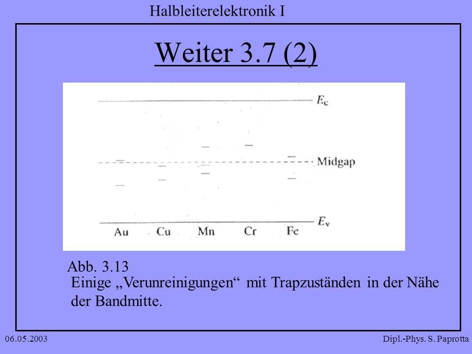 Dipl.-Phys. S. Paprotta Halbleiterelektronik I 06.05.2003 Weiter 3.7 (2) Abb. 3.13 Einige Verunreinigungen mit Trapzuständen in der Nähe der Bandmitte