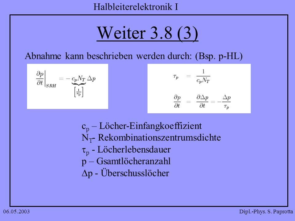 Dipl.-Phys. S. Paprotta Halbleiterelektronik I 06.05.2003 Weiter 3.8 (3) Abnahme kann beschrieben werden durch: (Bsp. p-HL) c p – Löcher-Einfangkoeffi