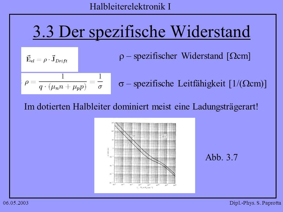 Dipl.-Phys. S. Paprotta Halbleiterelektronik I 06.05.2003 3.3 Der spezifische Widerstand – spezifischer Widerstand [ cm] Im dotierten Halbleiter domin