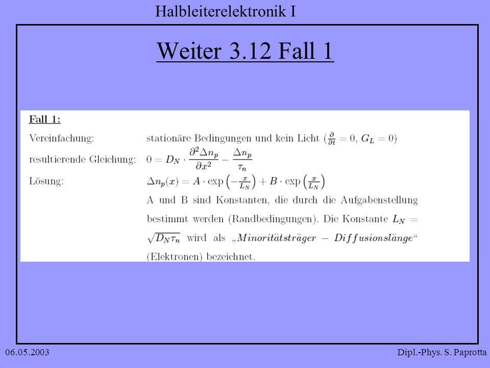 Dipl.-Phys. S. Paprotta Halbleiterelektronik I 06.05.2003 Weiter 3.12 Fall 1