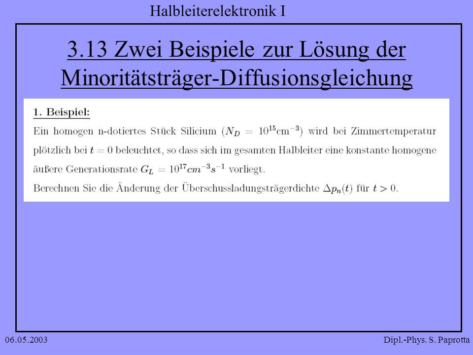 Dipl.-Phys. S. Paprotta Halbleiterelektronik I 06.05.2003 3.13 Zwei Beispiele zur Lösung der Minoritätsträger-Diffusionsgleichung