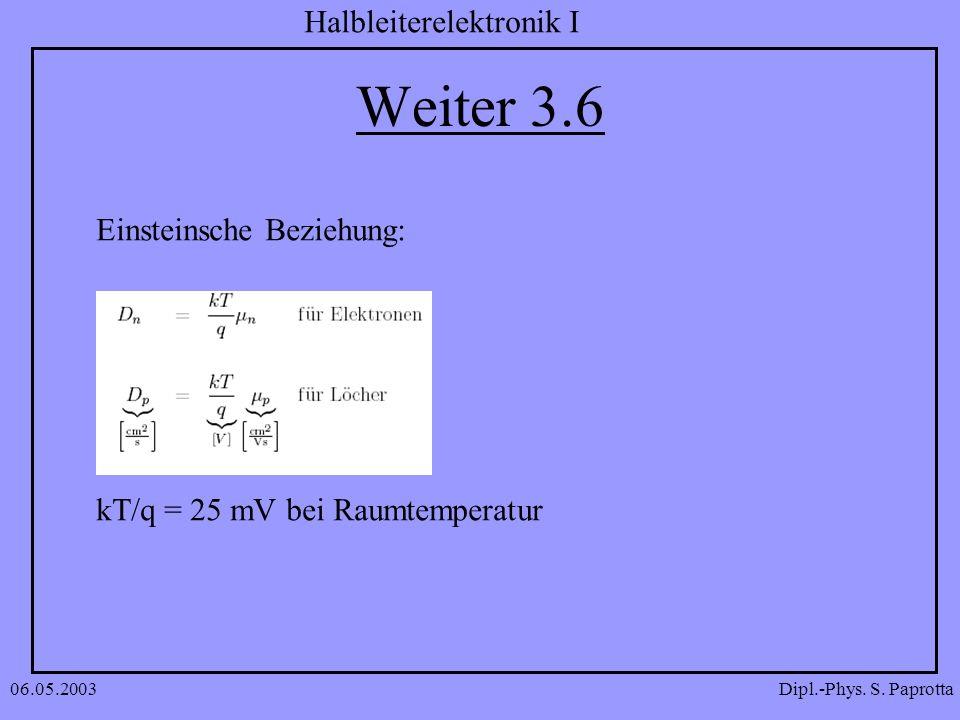 Dipl.-Phys. S. Paprotta Halbleiterelektronik I 06.05.2003 Weiter 3.6 Einsteinsche Beziehung: kT/q = 25 mV bei Raumtemperatur