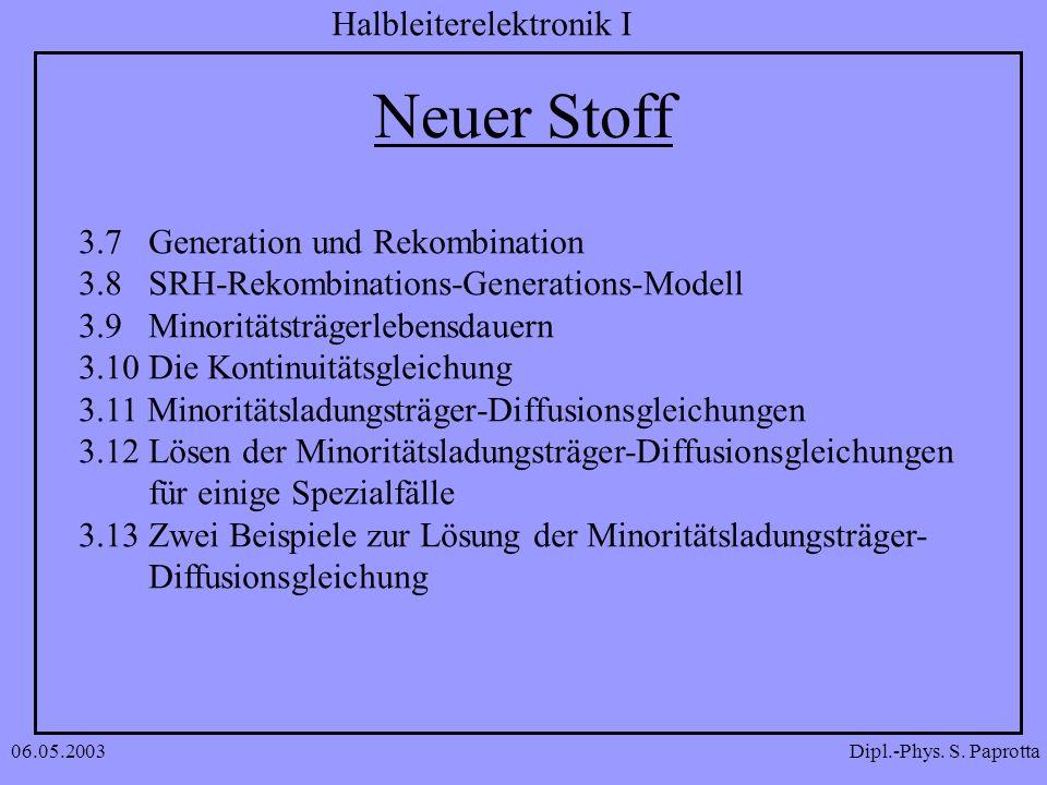 Dipl.-Phys. S. Paprotta Halbleiterelektronik I 06.05.2003 Neuer Stoff 3.7 Generation und Rekombination 3.8 SRH-Rekombinations-Generations-Modell 3.9 M