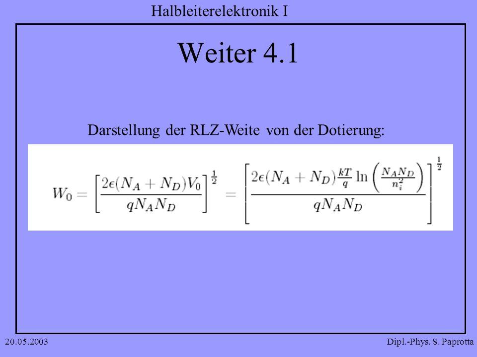 Dipl.-Phys. S. Paprotta Halbleiterelektronik I 20.05.2003 Weiter 4.1 Darstellung der RLZ-Weite von der Dotierung: