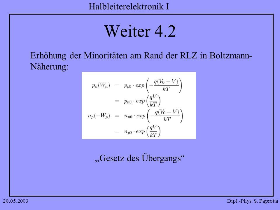 Dipl.-Phys. S. Paprotta Halbleiterelektronik I 20.05.2003 Weiter 4.2 Erhöhung der Minoritäten am Rand der RLZ in Boltzmann- Näherung: Gesetz des Überg