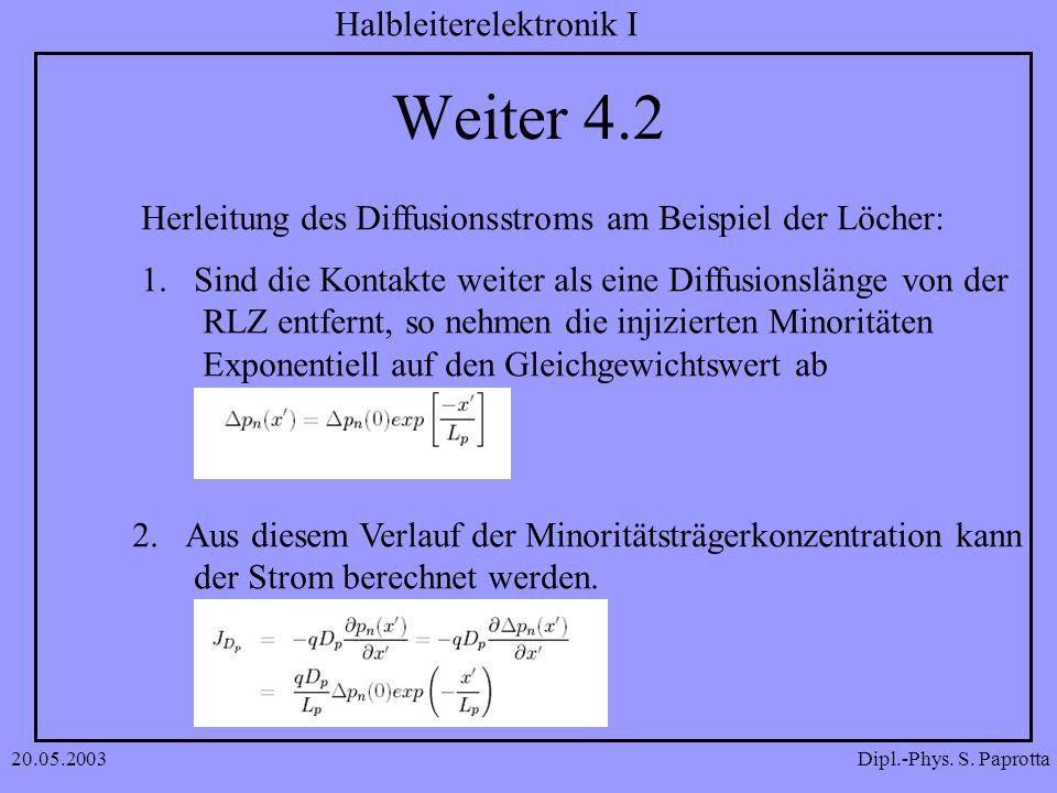 Dipl.-Phys. S. Paprotta Halbleiterelektronik I 20.05.2003 Weiter 4.2 Herleitung des Diffusionsstroms am Beispiel der Löcher: 1.Sind die Kontakte weite