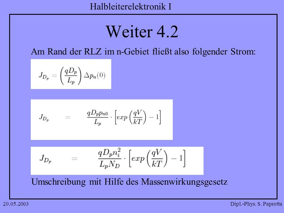 Dipl.-Phys. S. Paprotta Halbleiterelektronik I 20.05.2003 Weiter 4.2 Am Rand der RLZ im n-Gebiet fließt also folgender Strom: Umschreibung mit Hilfe d
