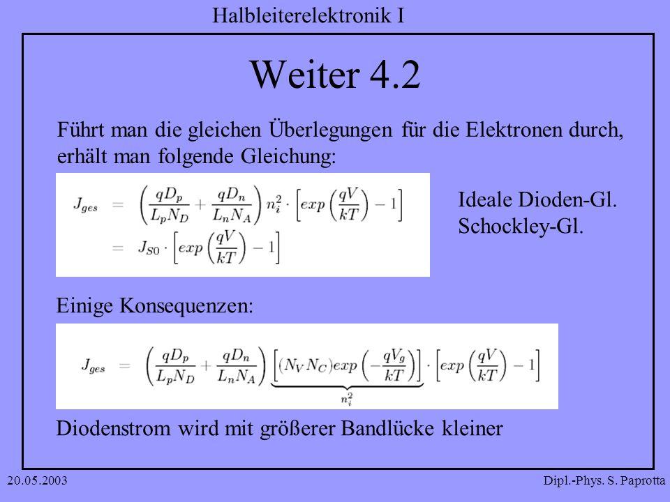 Dipl.-Phys. S. Paprotta Halbleiterelektronik I 20.05.2003 Weiter 4.2 Führt man die gleichen Überlegungen für die Elektronen durch, erhält man folgende