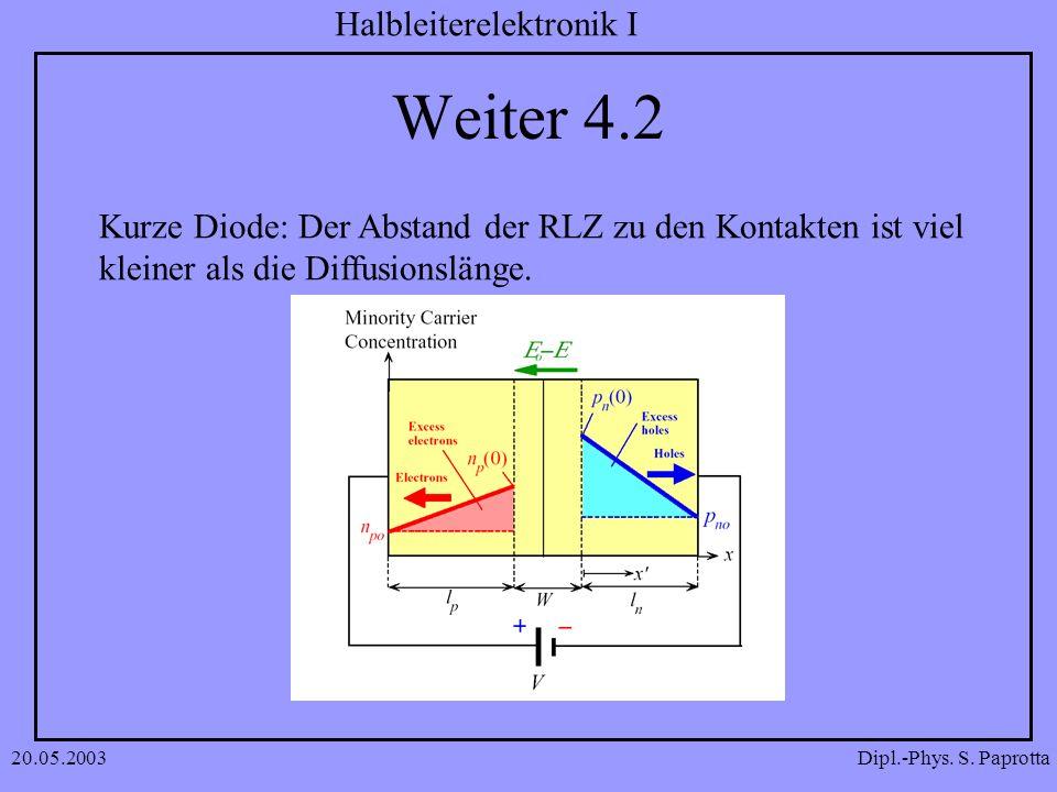 Dipl.-Phys. S. Paprotta Halbleiterelektronik I 20.05.2003 Weiter 4.2 Kurze Diode: Der Abstand der RLZ zu den Kontakten ist viel kleiner als die Diffus