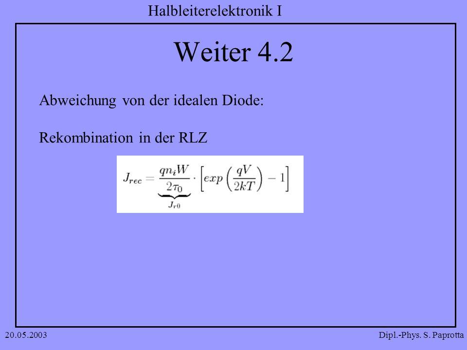 Dipl.-Phys. S. Paprotta Halbleiterelektronik I 20.05.2003 Weiter 4.2 Abweichung von der idealen Diode: Rekombination in der RLZ