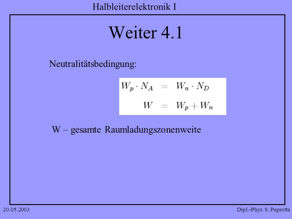 Dipl.-Phys. S. Paprotta Halbleiterelektronik I 20.05.2003 Weiter 4.1 Neutralitätsbedingung: W – gesamte Raumladungszonenweite