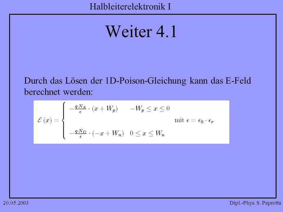 Dipl.-Phys. S. Paprotta Halbleiterelektronik I 20.05.2003 Weiter 4.1 Durch das Lösen der 1D-Poison-Gleichung kann das E-Feld berechnet werden: