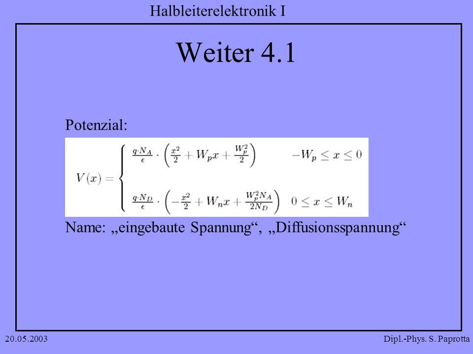 Dipl.-Phys. S. Paprotta Halbleiterelektronik I 20.05.2003 Weiter 4.1 Potenzial: Name: eingebaute Spannung, Diffusionsspannung