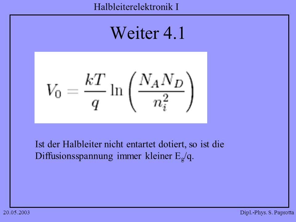 Dipl.-Phys. S. Paprotta Halbleiterelektronik I 20.05.2003 Weiter 4.1 Ist der Halbleiter nicht entartet dotiert, so ist die Diffusionsspannung immer kl