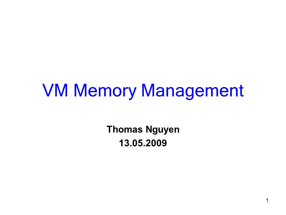 1 VM Memory Management Thomas Nguyen 13.05.2009